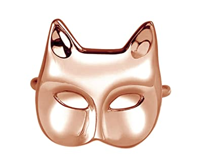 Wishrocks 18K Gold Over Sterling Silver Cat Mask Ring for Womens Fashion Jewelry