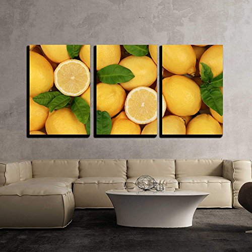 Group of Fresh Lemons with Leaves and Sliced Lemons Forming a Background x3 Panels