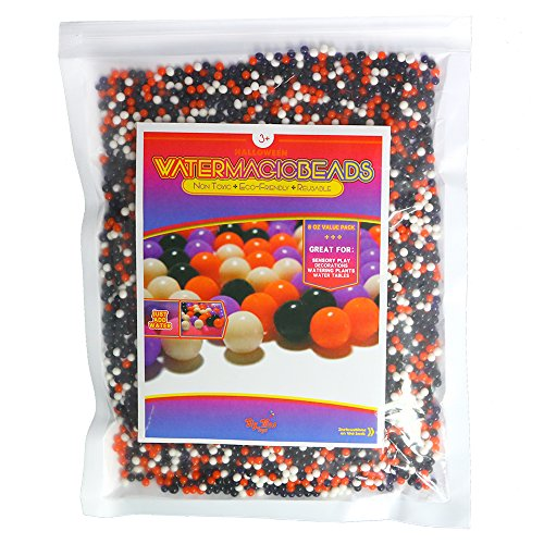 Big Mo's Toys Floral Halloween Pearl Water Beads - Orange Purple Black and White Halloween Gel Balls for Vase Or Candle Fillers for Centerpiece -