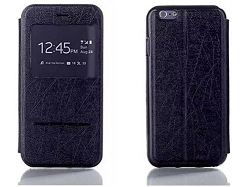 C63–Slim iPhone 6[11,9cm] custodia in pelle in nero con finestra trasparente