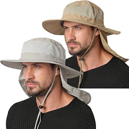 Jormatt 2 Pack Outdoor Fishing Sun Hat Waterproof UV Protection Wide Brim Sun Hat with Flap Neck Cover Mesh Breathable Foldable Safari Cap Unisex UPF 50+