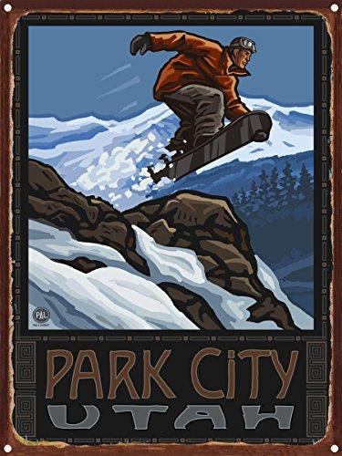 Park City Utah Snowboarder Jumping Rustic Metal Art Print by Paul A. Lanquist (9