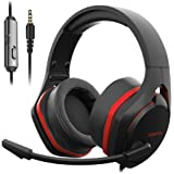 Jeecoo V22 Gaming Headset for PS4 PC Xbox One, Deep Bass Sound Over-Ear Headphones with Noise Cancelling Microphone, Big Soft Earcups, Compatible with Laptops Nintendo Switch Mobile