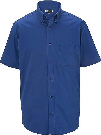 ROYAL BLUE SIZE MED POLY//COTTON TEFLON TREATED TWILL MEN/'S SHORT SLEEVE SHIRT