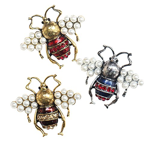 W WOOGGE 3 Pack of Bee Pin Jewelry Animal Vintange Gold Silver Rhinestone Pearl Insect Enamel Broohes Pin for Women