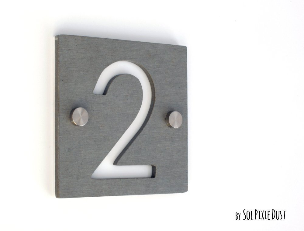 Door Number Sign Plaque Modern House Numbers,Square Concrete /& Pink Acrylic
