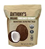 Organic Shredded Coconut (Unsweetened) 2 Pounds by Anthony's, Batch Tested Gluten-Free, (2lb)