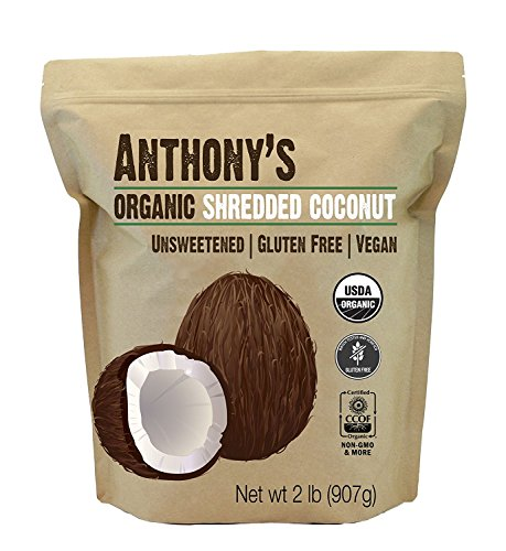 Organic Shredded Coconut (Unsweetened) 2 Pounds by Anthony's, Batch Tested Gluten-Free, (Dessicated Coconut)