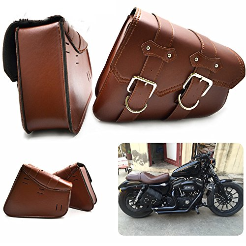 Easy Go 2X Universal Motorcycle PU Leather Saddle Bags Cruiser Side Storage Tool Pouches Rear Side Bags for Harley Sportster XL883 XL1200 Dyna Fat Boy ()