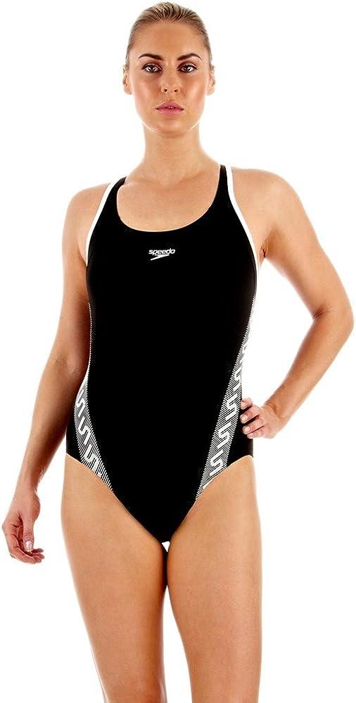Speedo Monogram - Bañdor de natación para mujer, color negro/blanco, talla 40: Amazon.es: Ropa y accesorios
