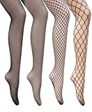 DRESHOW Fishnet Stockings Sexy Cross Tights Seamless Nylon Mesh Hollow Out Pantyhose Pack 4 4 Pair Pantyhoses: 4 Style Fishnet One Size