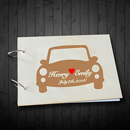 Unique Wedding Gifts Personalized Bride and Groom Name and Date Car Printed Wedding Guest Book Scrapbook Albums 8 x 12 inches