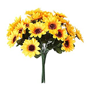 NDakter Artificial Sunflowers, 4 Bundles Artificial Flowers Silk Sunflowers Plastic Plants Indoor Outdoor Home Kitchen Office Christmas Wedding Party Decoration 4