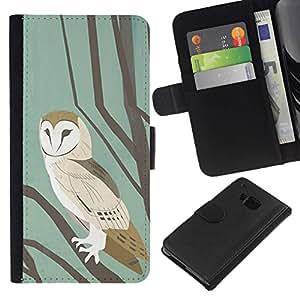 All Phone Most Case / Oferta Especial Cáscara Funda de cuero Monedero Cubierta de proteccion Caso / Wallet Case for HTC One M9 // School Pastel Watercolor Teal Brown