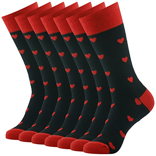 Long Tube Casual Dress Socks, SUTTOS Men's Youth Crazy Fun Parttern Casual Dress Suit Black Red Spade Heart Black Red Fashionable Design Charged Cotton Warm Party Sock Gifts,7 Pairs …