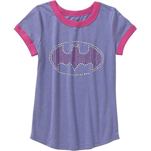 Superhero Girl Outfit (Batgirl Girls Rhinestud Logo Short Sleeve Crew Neck Graphic T-shirt (Large 10/12))