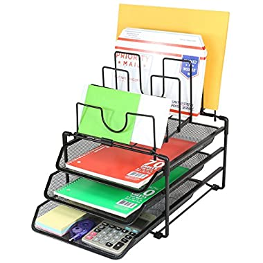 Deco Brothers Stackable Mesh Desk Convertible Organizer, Black