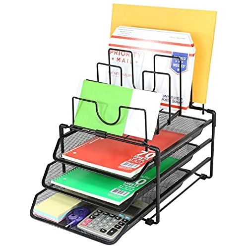 office deco. Deco Brothers Stackable Mesh Desk Convertible Organizer, Black Office Deco