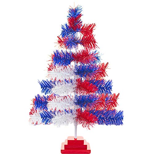 4th of July Christmas Trees Classic Tinsel Feather Style Tree Red, White, Blue Tabletop Height Vintage Retro American Patriotic Centerpiece Display Tree Indoor Outdoor w/Wood Base Stand (36'') (E Christmas Tree D L)