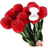 Hommy サプライズ!【 薔薇の 指輪ケース + メッセージカード 】 プロポーズ プレゼント 記念日 誕生日 贈り物 手品 マジック バラ ローズ リングケース カード セット 薔薇 赤