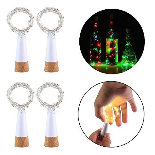 Auoker LED Cork Bottle Lights, 4pcs Waterproof Rechargeable USB LED Fairy Lights with 1.5m 15 LED, Great for DIY, Party, Christmas Decoration, Halloween, Wedding, Warm White
