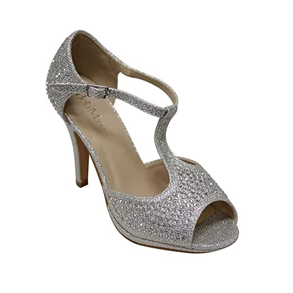 80e9cf1841c5d7 Bella Marie Shania-11 Women s peep Toe Rhinestone Glitter T- Strap Dance  Sandals