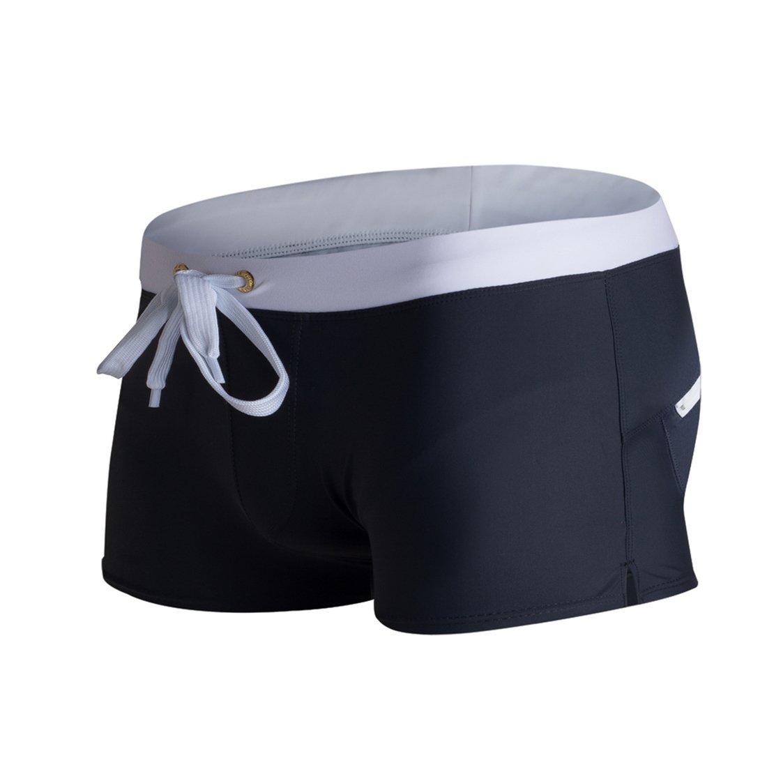 Zegoo Men's Swim Briefs Square Leg Black Swimwear Trunks Beachwear Shorts S
