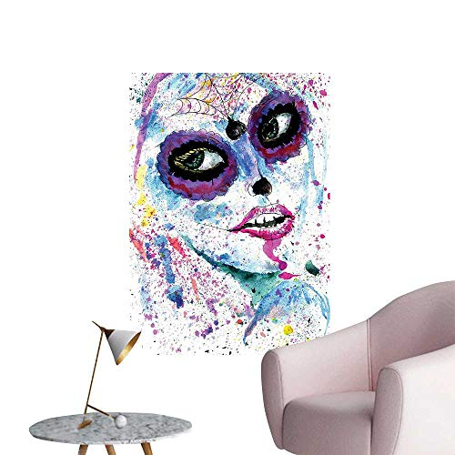 Wall Decals Halloween Lady Sugar Skull Up Creepy Dead Face Gothic Woman sy Blue Environmental Protection Vinyl,24