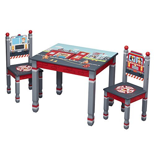Fantasy Fields Little Fire Fighters Kids Wooden Table & Set of 2 Chairs Hand Painted Lead Free Water-based Paint