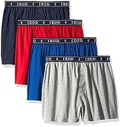 Izod Men\'s 4pk Knit Boxer, Black Iris/True Blue/Tango Red/Heather Grey, Small