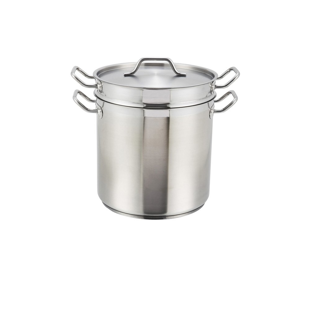 Winco SSDB-20, 20-Quart 11-7/8'' x 10- 5/8'' x 11-7/16'' Master Cook Commercial Grade Stainless Steel Double Boiler With Cover, NSF
