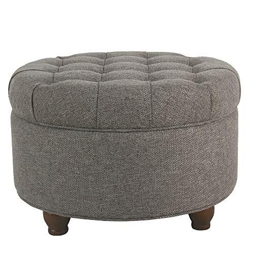 - HomePop Large Button Tufted Round Storage Ottoman, Dark Gray