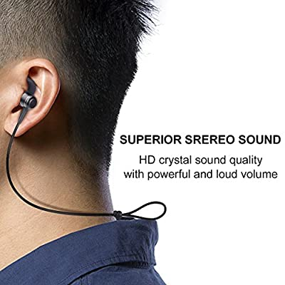 Bluetooth Earbuds KingYou Wireless Headphones with microphone 4.1 Sweatproof Magnetic Headset Lightweight Stereo In-Ear Earphones for Sport Jogging Workout Gym Running 8 Hours