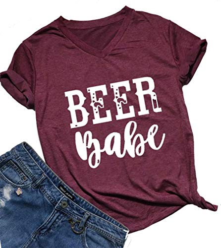 Beer Babe T Shirt Women Drinking Shirt Short Sleeve V Neck Letter Print T Shirt Tee Size XL (Red)