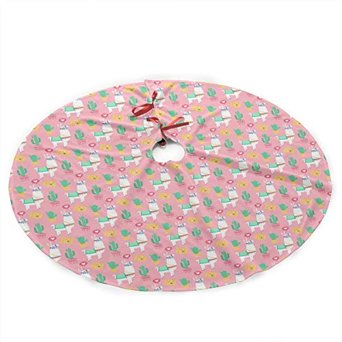 CHRISMAX Alpaca Christmas Tree Skirt 36 Inches Christmas Decorations Indoor Outdoor