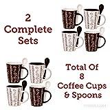 coffee bean mug - Cafe Style 10 Oz Coffee Mug and Spoon, (2 Sets of 4 Coffee Cups, 8 Coffee Cups in Total), Bean Bonanza - Brown, White