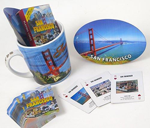 SAN Francisco Souvenir gift set, includes jumbo 15 oz coffee mug, playing cards, and large oval magnet. ()