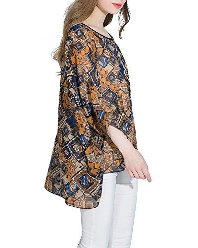 Mujeres Camiseta de Manga 3/4 Impresa Casual Blusa de Verano Tops Chaleco Amarillo