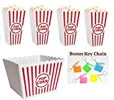 Kitchen & Housewares : Retro Popcorn Set Bowl Plastic Classic Tub Red & White Striped Container Container Movie Theater Bucket Reusable Set Of 5