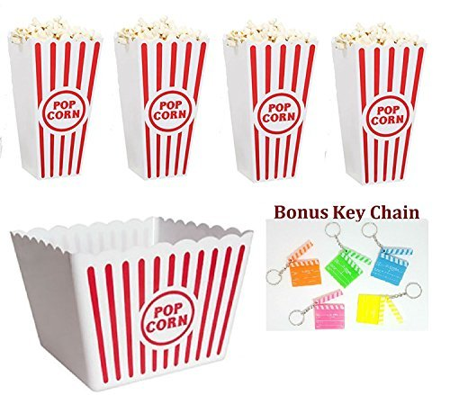 Retro Popcorn Set Bowl Plastic Classic Tub Red & White Striped Container Container Movie Theater Bucket Reusable Set Of 5 -