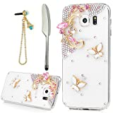 YOKIRIN Galaxy S6 Case, 3D Handmade Luxury Crystal Rhinestone with Bling White Butterfly and Pink Flower Diamonds Clear Cover Slim Fit Hard PC Protective Case & Blue Bling Dust Plug & Stylus Pen