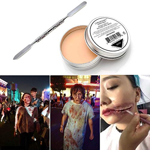 COKOHAPPY Halloween Party Stage Special Effects Wound Scar Nude Color Putty/Wax Fake Face Paint Fancy Cosplay Makeup (1.76oz)]()