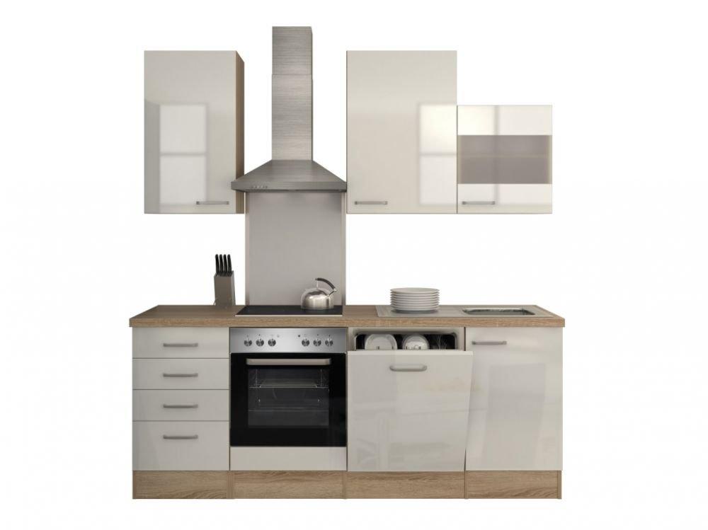 Küchenzeile 220 cm Hochglanz Weiß mit Geschirrspüler und Sonderhaube - Valencia