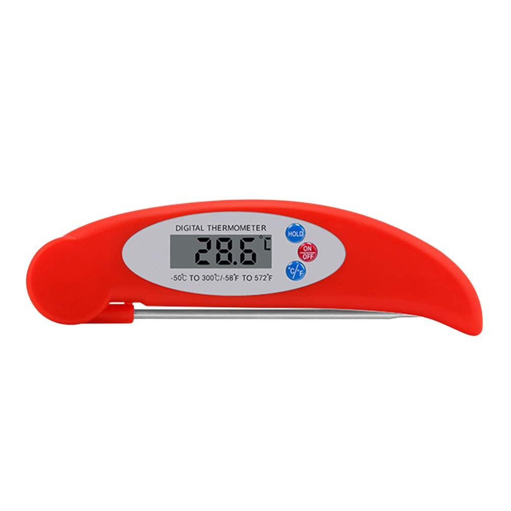 BESTONZON Sonda electrónica digital Tipo Termómetro para alimentos Termómetro de cocina sin batería (Rojo): Amazon.es: Hogar