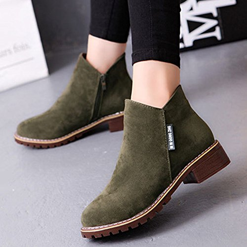 Ankle Toe Comfy Shoes Women's Flat Zipper army Booties green Girls School fur Platform Suede Boots Leather Round Chukka YrwqnF6tw