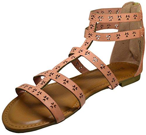 Sandalo Gladiator Di Bambù Ispirato-25m Donna Taglio Laser Arrossisce Taglia 10 Arrossisce