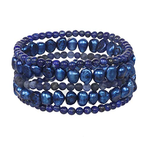(Set of 5 Lapis Lazuli Gemstone and Dyed Blue Cultlured Freshwater Pearl Stretch)