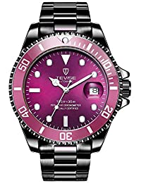 Men Automatic Mechanical Rotatable Outer Ring Watch Luxury Clock Luminous Calendar Sport Watches (Black Purple