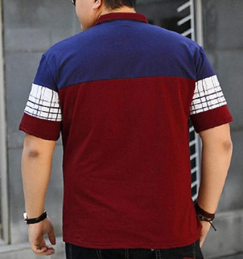 Wofupowga Mens Short Sleeve Plaid Summer Tops Color Block Tees Polo Shirts