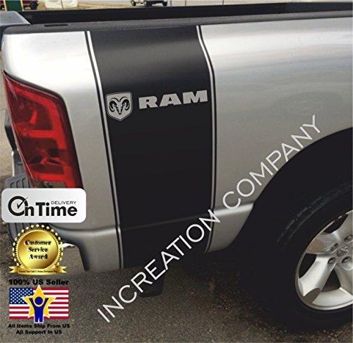 (INCreation Company Compatible with Dodge Ram 1500 2500, Rear Side Bed Black Decals, Mopar RT Super Rumble Bee Stripes Vinyl Stickers, 5.7 L auto Graphics SRT Hellcat, Hemi, Rebel 4x4)
